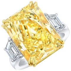 GIA Certified 17.01 Carat Fancy Yellow Radiant VS2 Diamond Engagement Ring