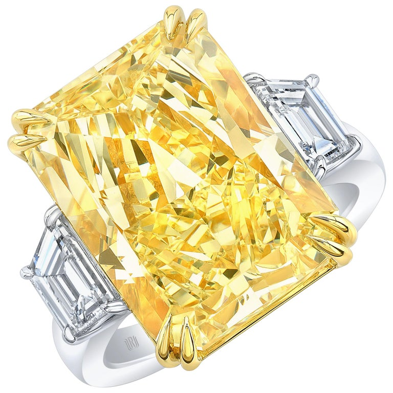 GIA Certified 17.01 Carat Fancy Yellow Radiant VS2 Diamond Engagement Ring For Sale