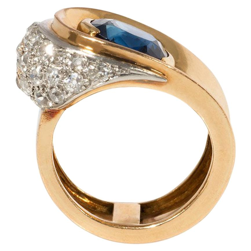 French 1940s Gold, Sapphire, and Diamond Button Design Asymmetrical Ring