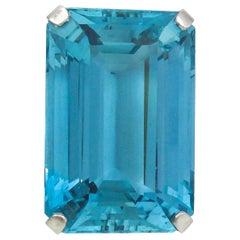 Stunning 45.50 Carat Rare Santa Maria Blue Color Aquamarine Retro Platinum Ring