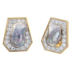 David Webb 18 Karat Gold and Platinum Baroque Pearls and Diamond Stud Ears
