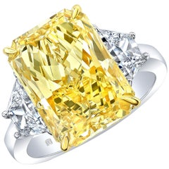 GIA Certified 7.95 Carat Radiant Cut Fancy Yellow Diamond Three-Stone Engagement