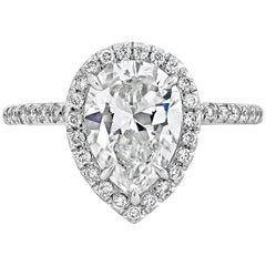 GIA Certified 2.01 Carat Pear Shape Diamond Halo Engagement Ring