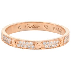 Cartier Diamond Love Ring 2 Rows 18 Karat Rose Pink Gold Estate Fine Jewelry