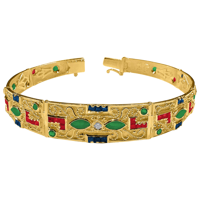 Georgios Collections 18 Karat Gold Ruby Emerald Sapphire and Diamond Bracelet