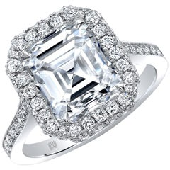 GIA Certified 2.74 Carat E/SI1 Emerald Cut Diamond Halo Engagement Ring