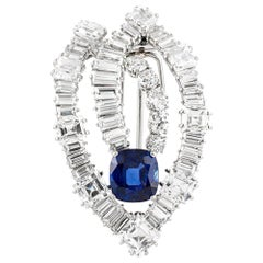 7.64 Carat Burmese Sapphire and Diamond Cartier Brooch