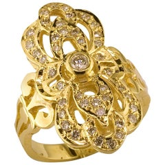 Georgios Sammlungen 18 Karat Gelb Gold byzantinischen Stil lange Diamantring