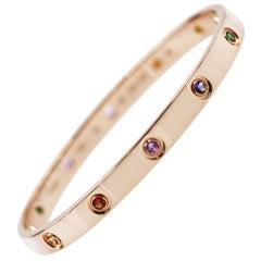 Cartier 18 Karat Rose Gold Love Bracelet, Sapphires, Garnets, Amethysts