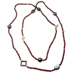 David Yurman Garnet Rondelle Pearl Diamond Yellow Gold and Silver Necklace