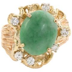 Vintage Jade Diamond Nugget Ring 14 Karat Gold Cocktail Estate Fine Jewelry