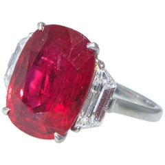 Very Fine Natural Ruby and Diamond Ring