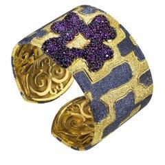 Hand-Textured Garnet Sterling Silver Gold Platinum Hinged Cuff Bracelet