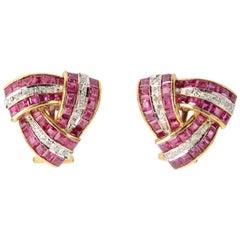 Triangular Ruby Diamond Gold Earrings