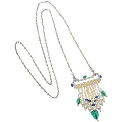 Art Deco French Diamond, Natural Pearl, Emerald, Sapphire Necklace