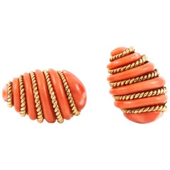 Verdura Coral Gold Wrapped Earrings