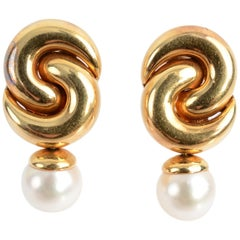Marina B Gold Twist Earrings with Pearl Drop