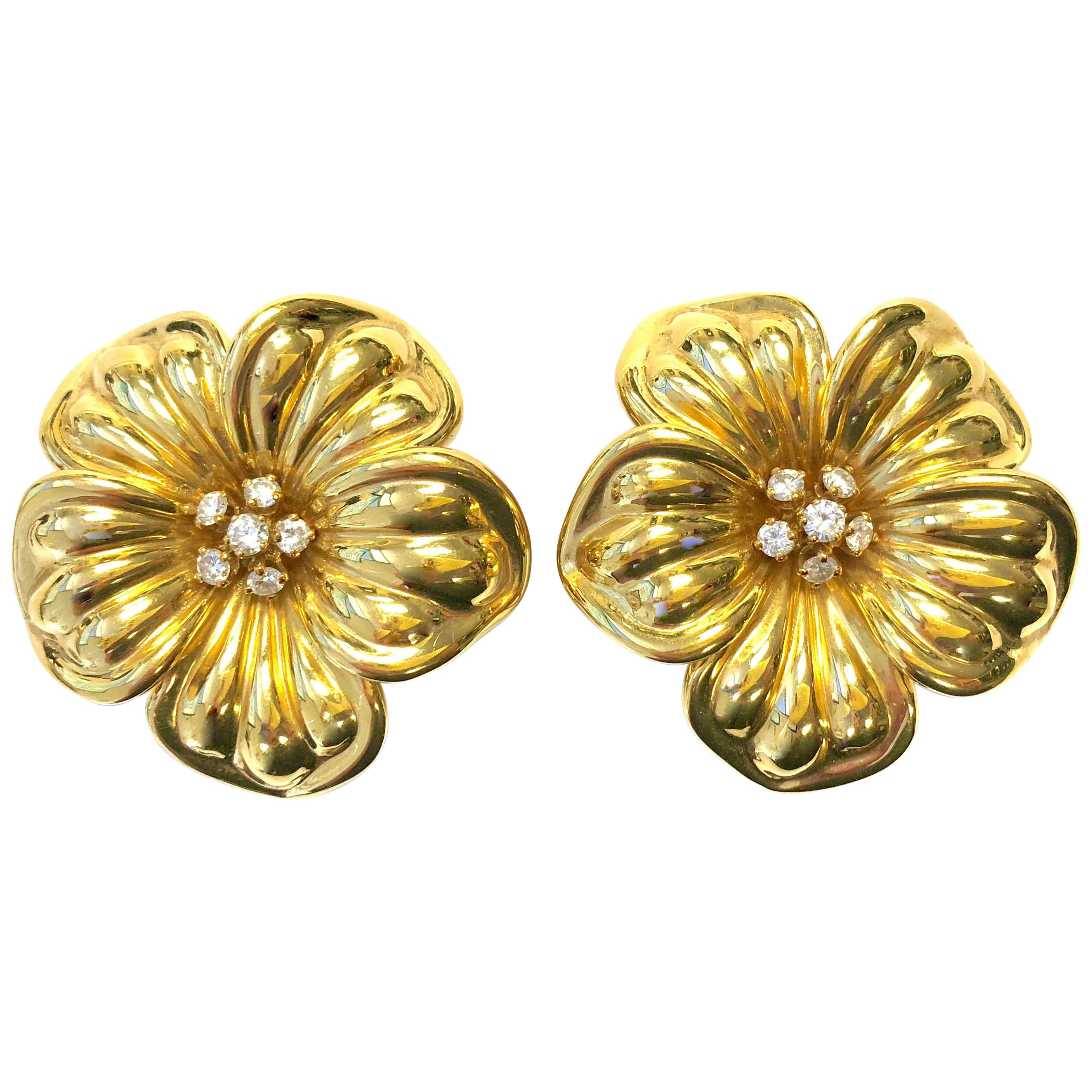 bf0ce1cfe4d Vintage Van Cleef and Arpels Large Diamond and Gold Magnolia Flower Earrings  at 1stdibs