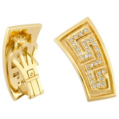 Georgios Collections 18 Karat Yellow Gold Diamond Earrings the Greek Key Design