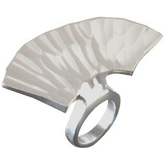 Rey Urban for Åge Fausing 'Fluke' Sculptural Scandinavian Modernist Silver Ring