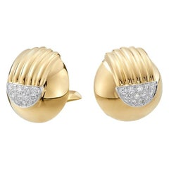 David Webb 18 Karat Yellow Gold and Platinum Pave Stud Ears