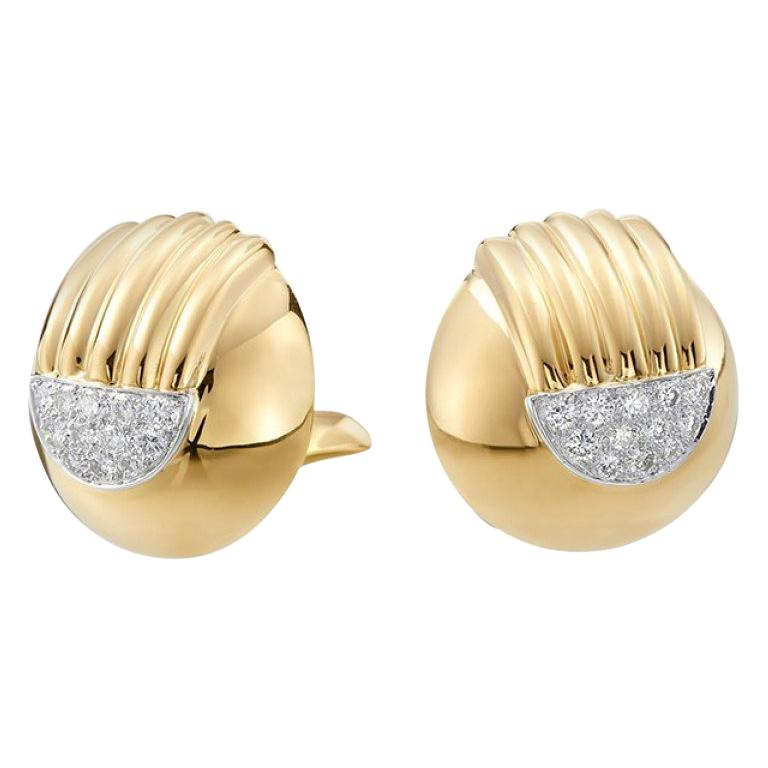 David Webb 18 Karat Yellow Gold and Platinum Pave Stud Ears For Sale