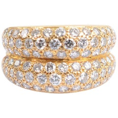 Cartier Double Gold Band Ring with Diamonds