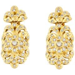 Georgios Collections 18 Karat Yellow Gold Diamond Byzantine Style Long Earrings