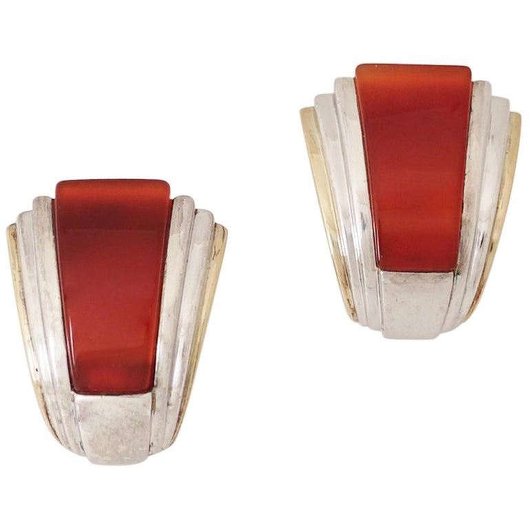 Puiforcat, Gold Silver and Carnelian Clip-On Earrings, circa 1970 For Sale