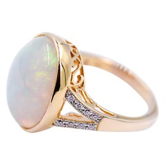 8.09 Carat Ethiopian Opal and White Diamond Statement Ring in 14 Karat Gold