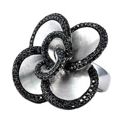 Floral Ring with Black Diamonds on 14 Karat Satin Finished White Gold in Stock