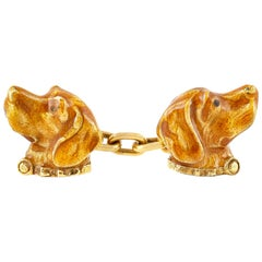 Art Nouveau Dog Head Enamel Cufflinks