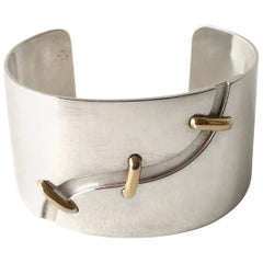 Jose Maria Puig Doria Sterling Silver Gold Spanish Modernist Cuff Bracelet
