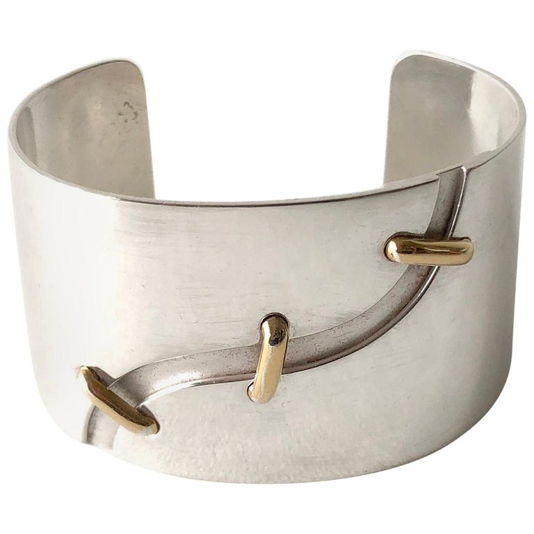 Jose Maria Puig Doria Sterling Silver Gold Spanish Modernist Cuff Bracelet For Sale