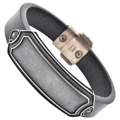 David Yurman Sterling Silver and Leather ID Bracelet