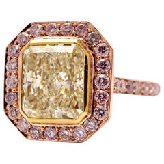 Fancy Yellow 2.20 Carat Certified Diamond Cocktail Ring in 18 Karat Rose Gold