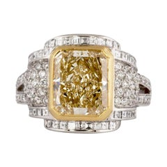 Fancy Yellow 3.87 Carat Certified Diamond Cocktail Ring in Platinum