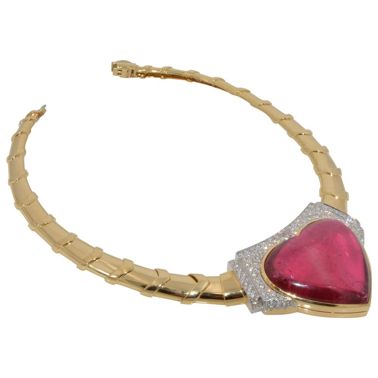David Webb 18 Karat Gold and Platinum Heart Rubellite with Diamonds Necklace For Sale