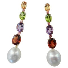 Michael Kneebone Multicolored Gemstone South Seas Pearl Dangle Earrings