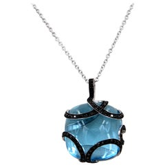18 Karat White Gold Blue Topaz Black Diamonds Garavelli Pendant Necklace