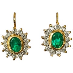 3.70 Carat Natural Colombian Emerald and Diamond Earrings 18 Karat Gold