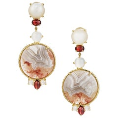 Daria de Koning Crazy Lace Agate, Moonstone, Garnet Earrings