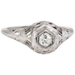 Deco-Diamant-Ring Vintage 18 Karat Gold Antik alte Mine Schnitt filigranen Vintage