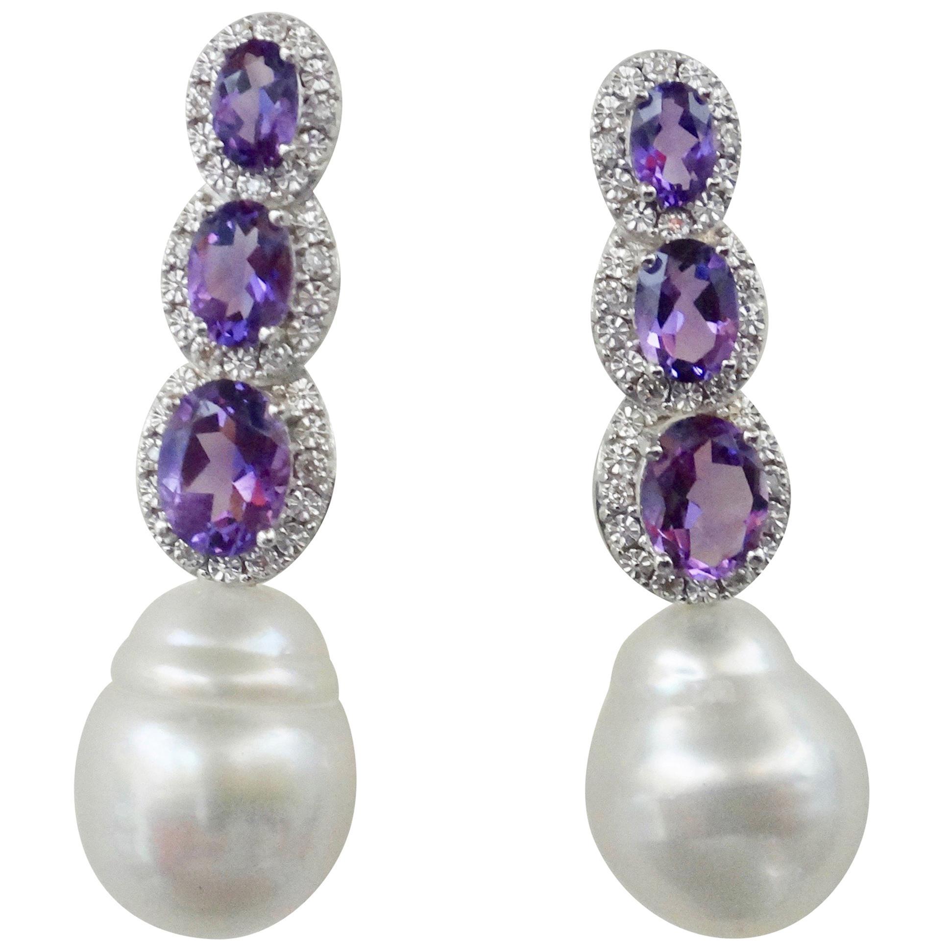 Michael Kneebone Amethyst Diamond South Seas Pearl Dangle Earrings