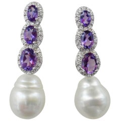 Michael Kneebone Amethyst Diamond South Seas Pearl Dangle Earrings