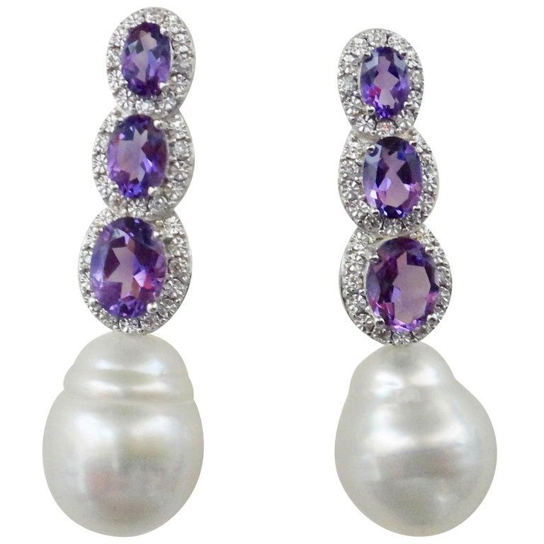 Michael Kneebone Amethyst Diamond South Seas Pearl Dangle Earrings For Sale