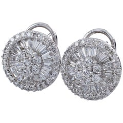 3.25 Carat Diamond Ballerina Setting 18 Karat White Gold Stud Earrings