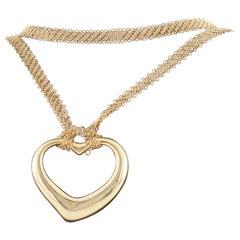 Tiffany & Co. Elsa Peretti Vintage 18 Karat Yellow Gold Open Heart Pendant