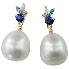 Michael Kneebone Sapphire Aquamarine Diamond South Seas Pearl Confetti Earrings