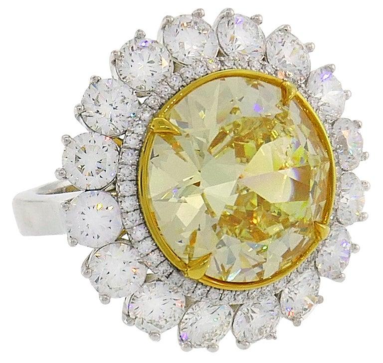 Fancy Intense Yellow Diamond White Gold Ring 10.04 Carat VS2 GIA For Sale